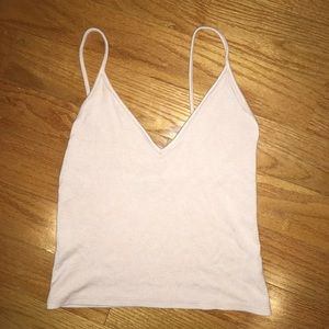 baby pink spaghetti strap cropped tank top
